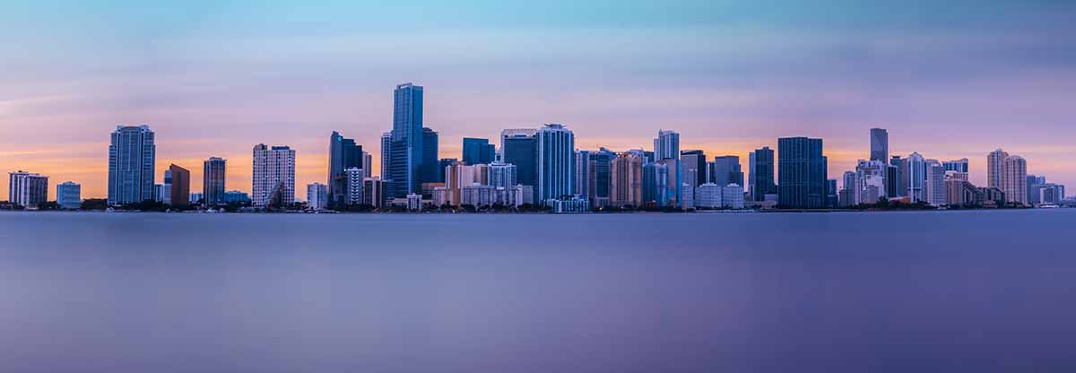 Miami lake and cities with the skyscrapper